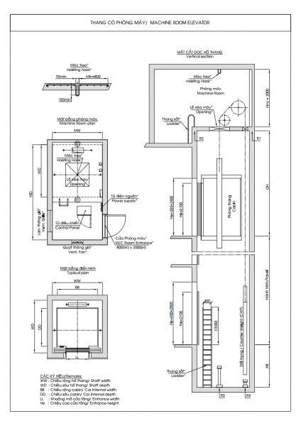 bản vẽ hố thang có phòng máy